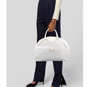 White and Grey Goyard St. Jeanne GM Satchel Bag